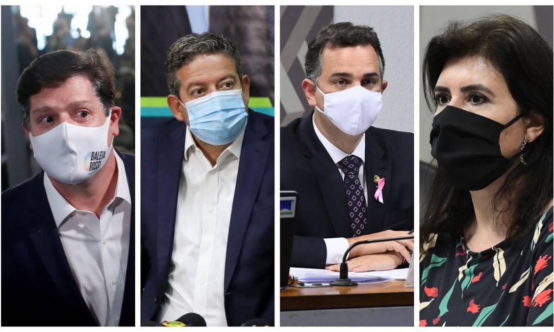 Baleia Rossi, Arthur Lira, Rodrigo Pacheco e Simone Tebet Foto: Agência O Globo