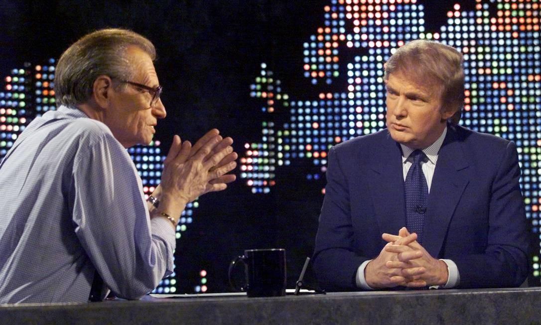 O agora ex-presidente dos EUA Donald Trump foi entrevistado por Larry King em 1999 Foto: Peter Morgan / REUTERS - 07/10/1999