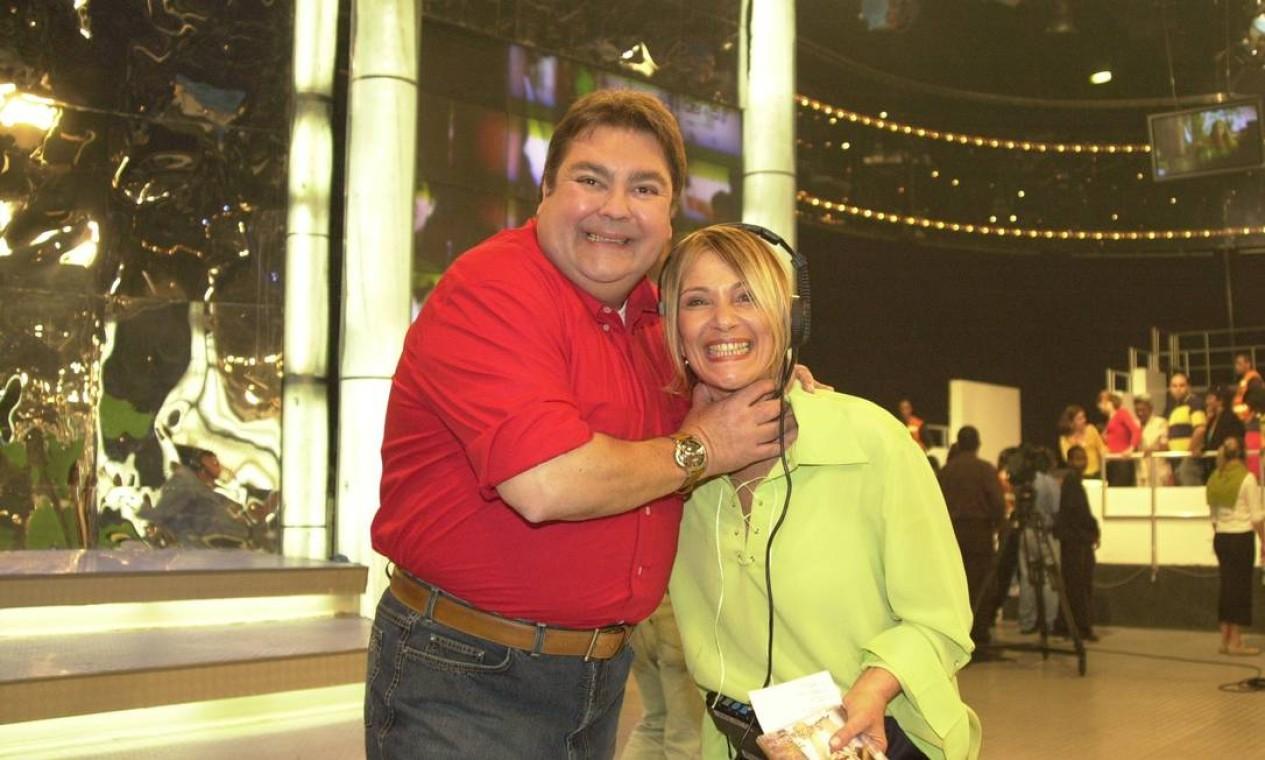 Faustão e a diretora de palco Lucimara Parisi Foto: João Miguel Júnior / TV GLOBO