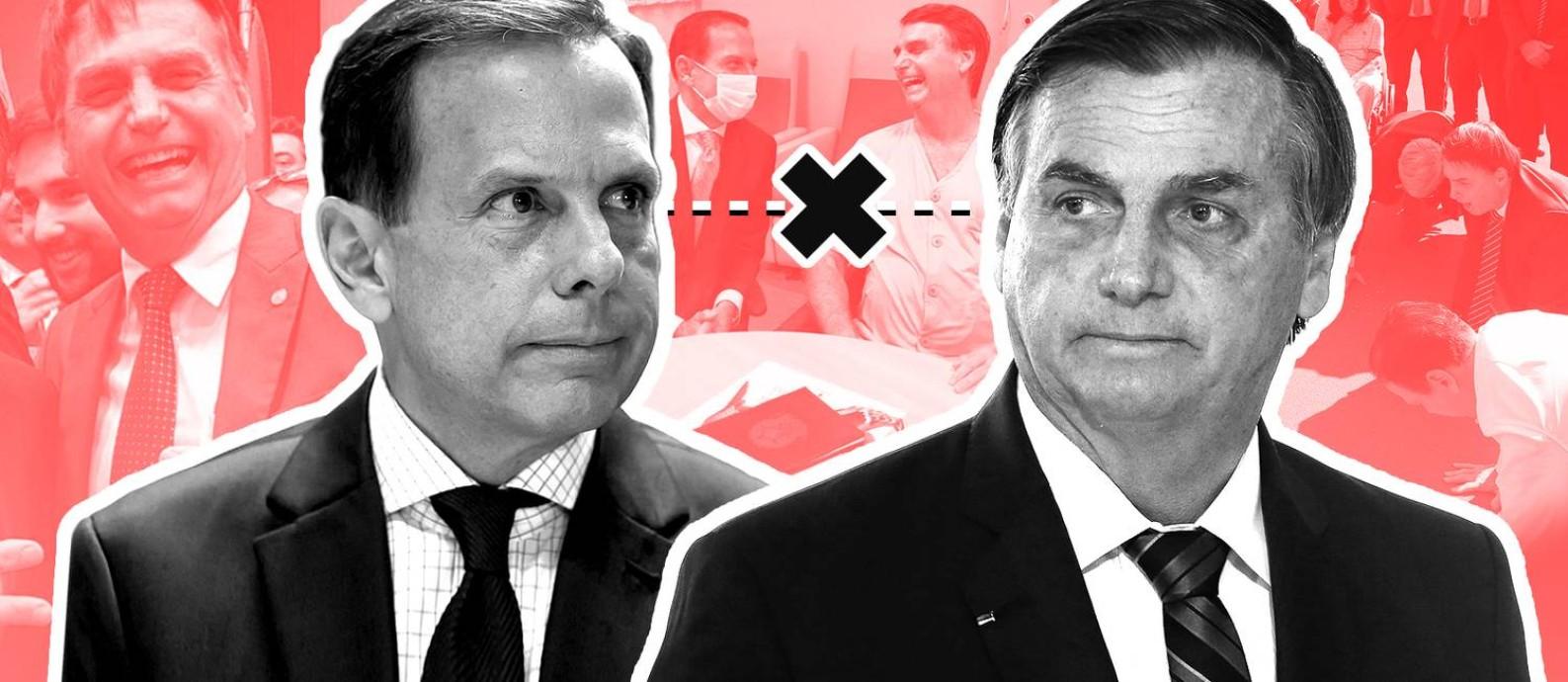 Bolsonaro x Doria: do voto bolsodoria e troca de elogios à guerra política da vacina Foto: Editoria de Arte