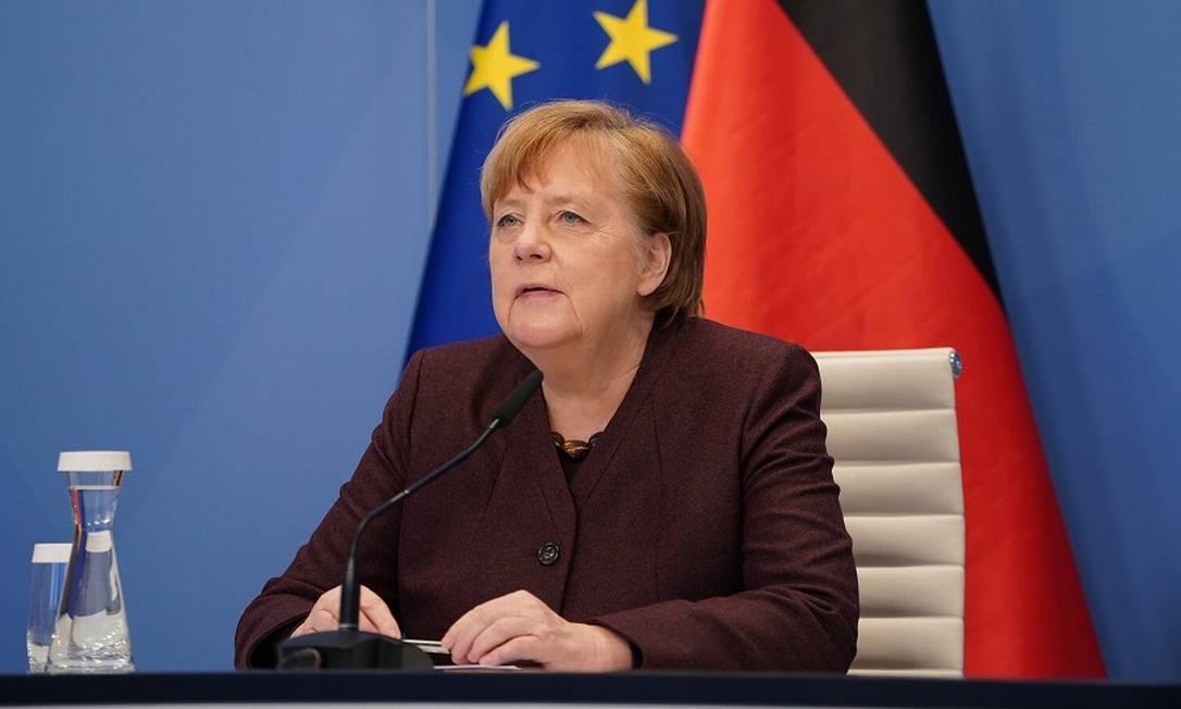 A chanceler alemã Angela Merkel na sessão virtual do Fórum Foto: POOL / REUTERS