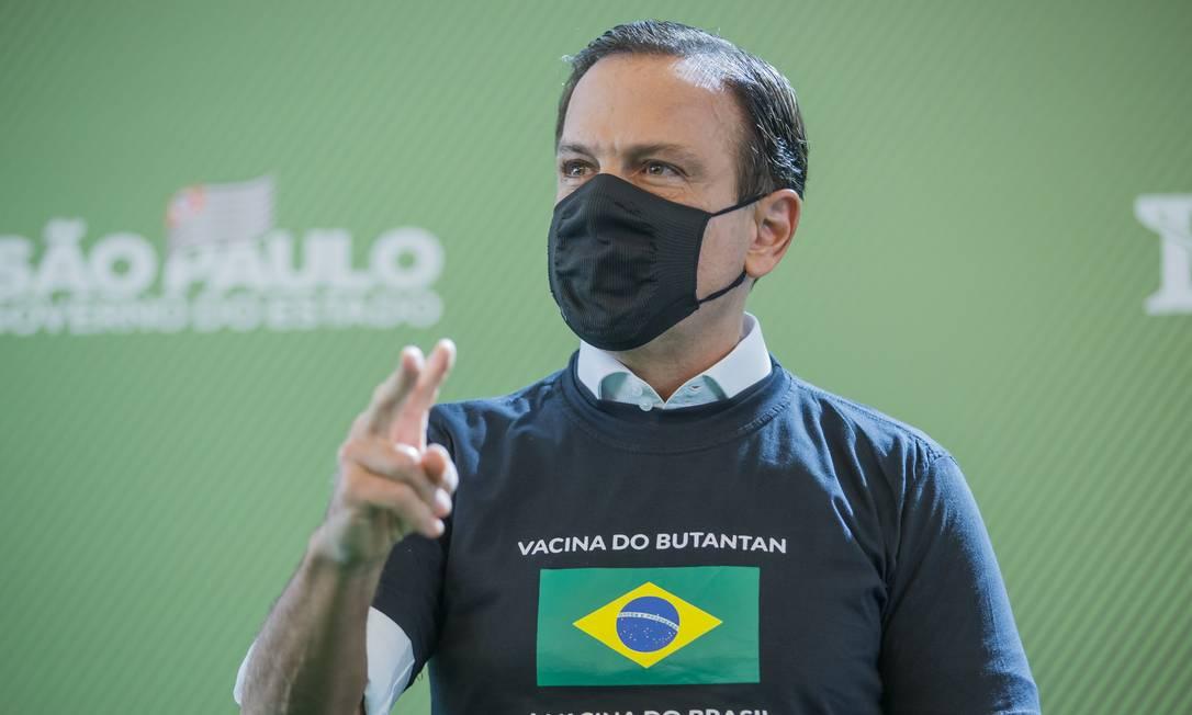O governador de São Paulo, João Doria (PSDB), durante anúncio do inicio da vacinação em São Paulo (17/01/2021) Foto: Edilson Dantas / Agência O Globo
