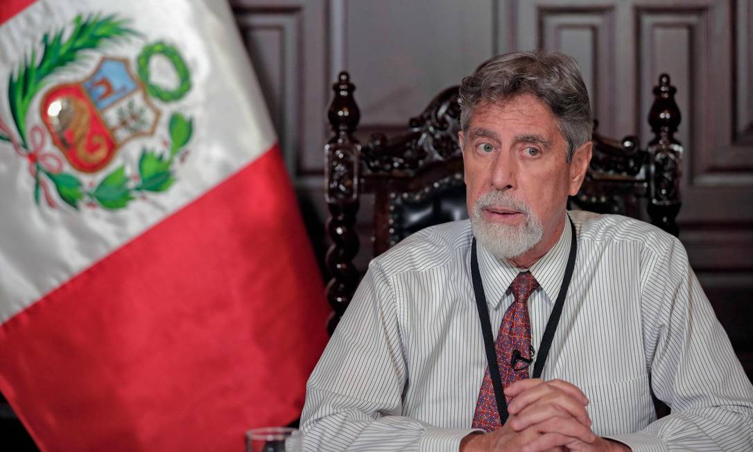 Presidente Francisco Sagasti anunciou novas medidas para controlar a propagação da pandemia de coronavírus COVID-19, durante pronunciamento. Foto: HANDOUT / AFP