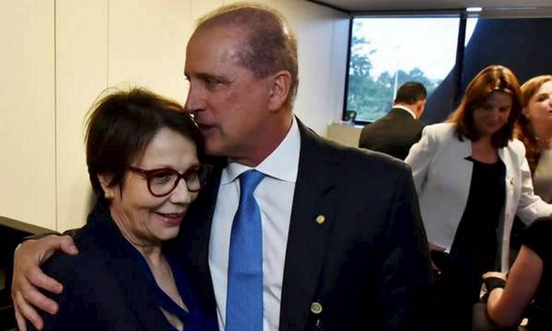 Onyx Lorenzoni e Tereza Cristina participam de reunião durante a transição de governo Foto: Rafael Carvalho/Divulgação