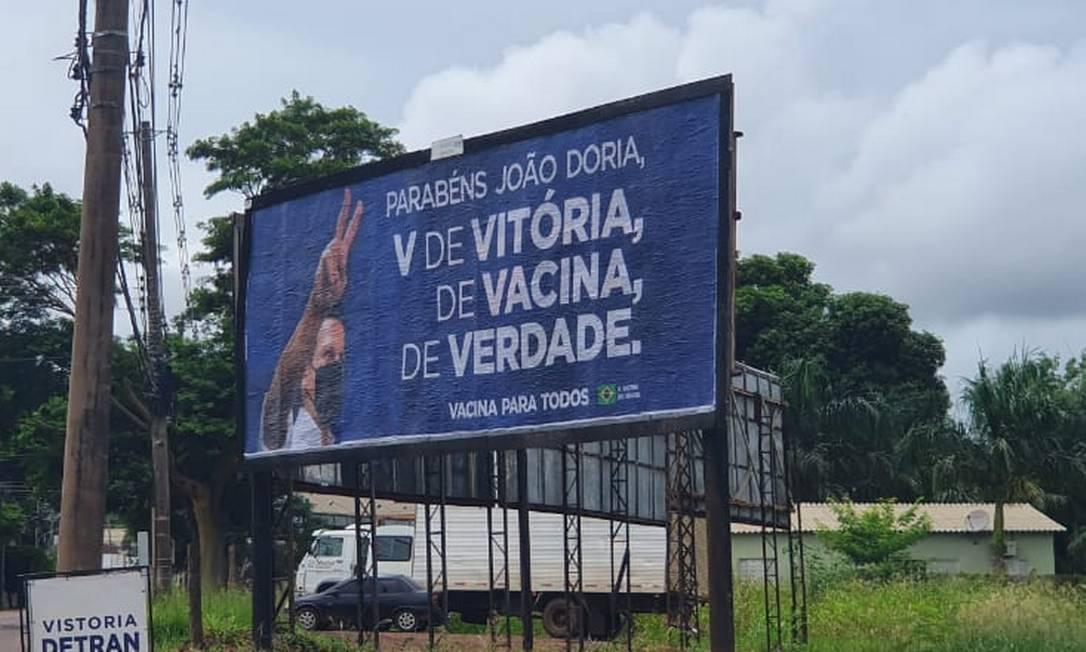 Outdoor a favor do governador João Doria, na cidade de Campo Grande Foto: Divulgação