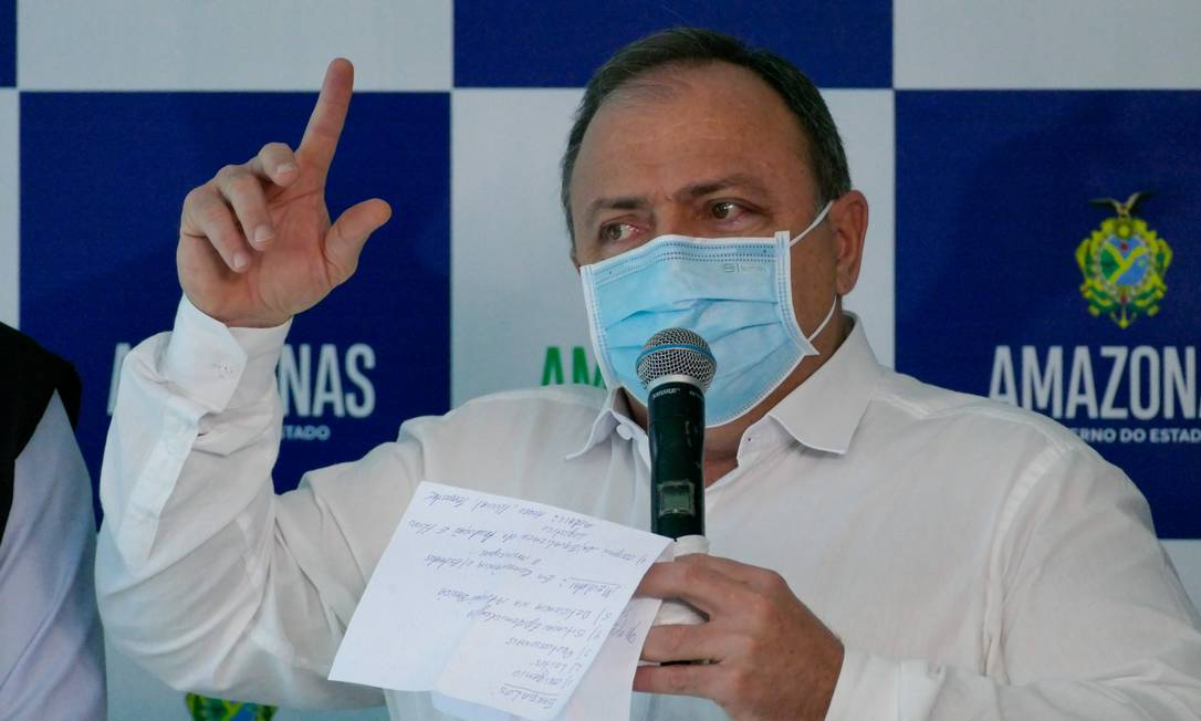 Ministro Eduardo Pazuello em Manaus Foto: Sandro Pereira/Fotoarena / Agência O Globo