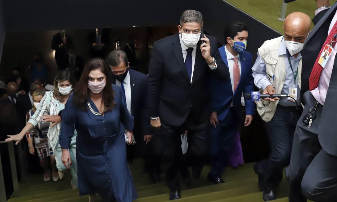O candidato Arthur Lira (PP-AL), apoiado pelo presidente Jair Bolsonaro, na Câmara Foto: CLEIA VIANA / Câmara dos Deputados