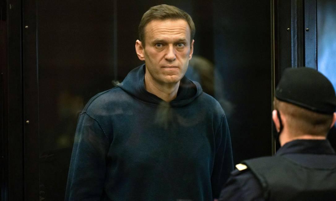 Alexey Navalny durante audiência judicial em tribunal de Moscou Foto: HANDOUT / AFP
