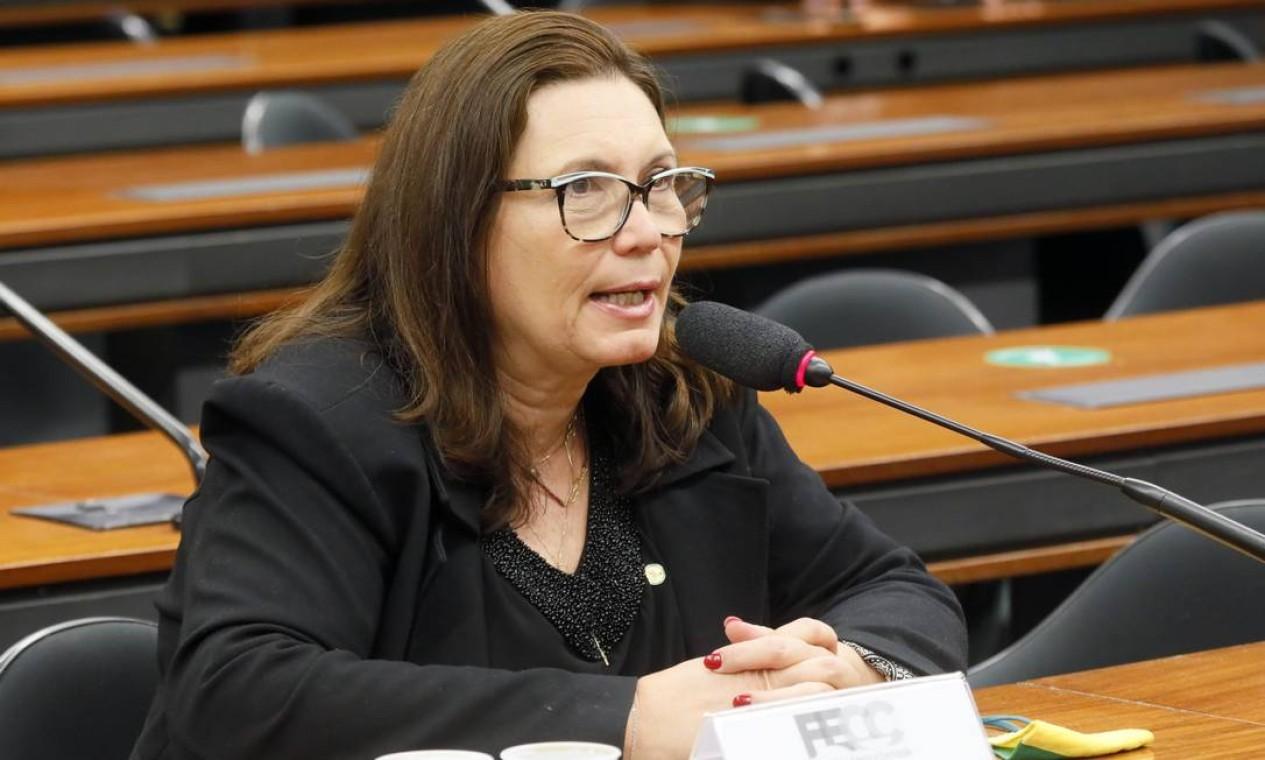 Deputada Bia Kicis (PSL-DF), durante sessão na Câmara. Parlamentar pode presidir a Comissão de Constituição e Justiça (CCJ), a mais importante da Casa Foto: Maryanna Oliveira / Câmara dos Deputado - 08/12/2020