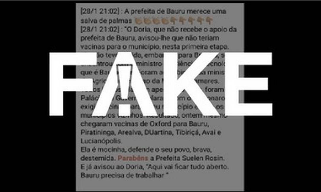 É #FAKE que governo de SP negou vacinas a Bauru e que prefeita só obteve doses após reunião com Bolsonaro Foto: Reprodução