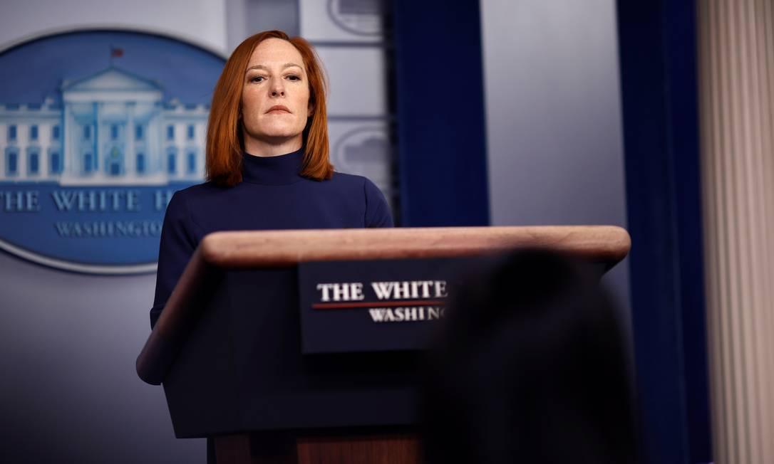 A porta-voz da Casa Branca, Jen Psaki, durante o briefing diário Foto: CARLOS BARRIA / REUTERS/08-02-2021