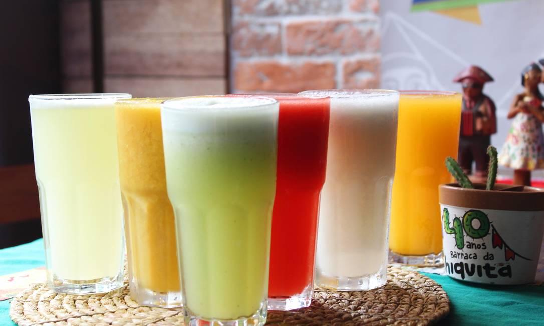 Variedade. A Barraca da Chiquita oferece um cardápio de sucos de frutas exóticas, como cupuaçu, seriguela, mangaba, graviola e cajá. O copo de 300 ml custa R$ 9,60 Foto: Divulgação
