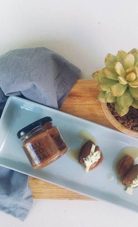 Para incrementar. A geleia Aurora de tâmaras com gorgonzola pode ser usada em pães e em variadas receitas (R$ 20, 150ml) Foto: Divulgação