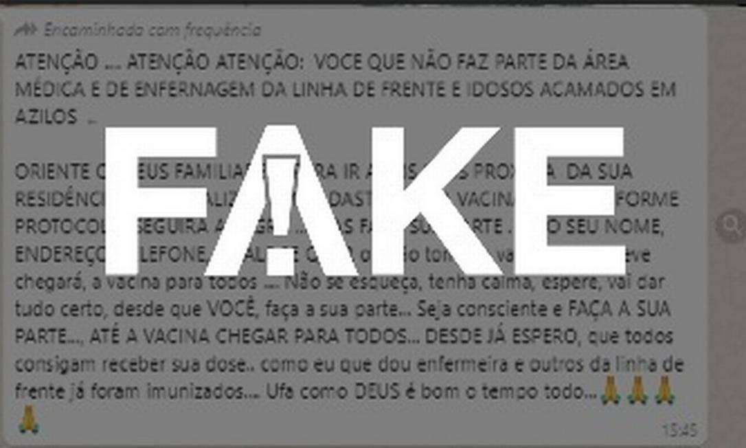 É #FAKE mensagem que circula em Guarulhos convocando cadastro em UBS para receber vacina Foto: Reprodução
