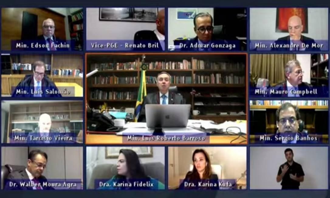Sessão do TSE que analisou ações contra chapa de Bolsonaro e Mourão Foto: Reprodução/Youtube