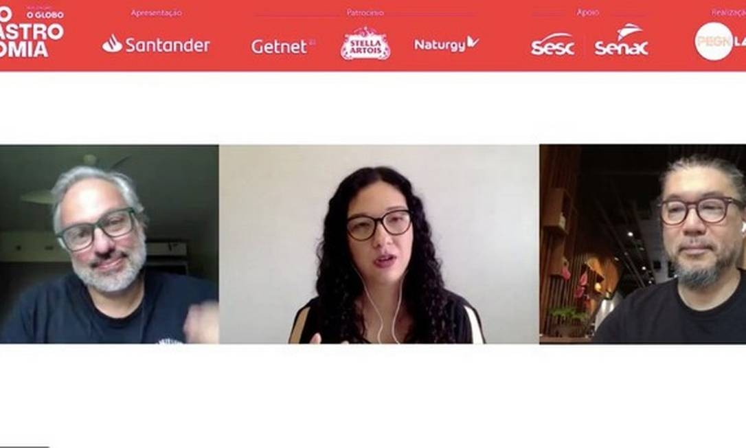 Ricardo Garrido, Mariana Iwakura e Tsuyoshi Murakami: juntos na live do PEGN Labs Foto: Reprodução