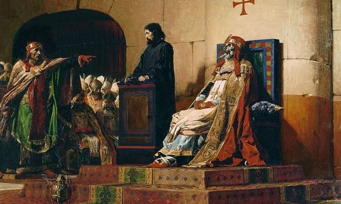 O pintor Jean-Paul Laurens imortalizou o julgamento em 1870, em sua pintura 'Papa Formoso e Estêvão 6º' Foto: Getty Images