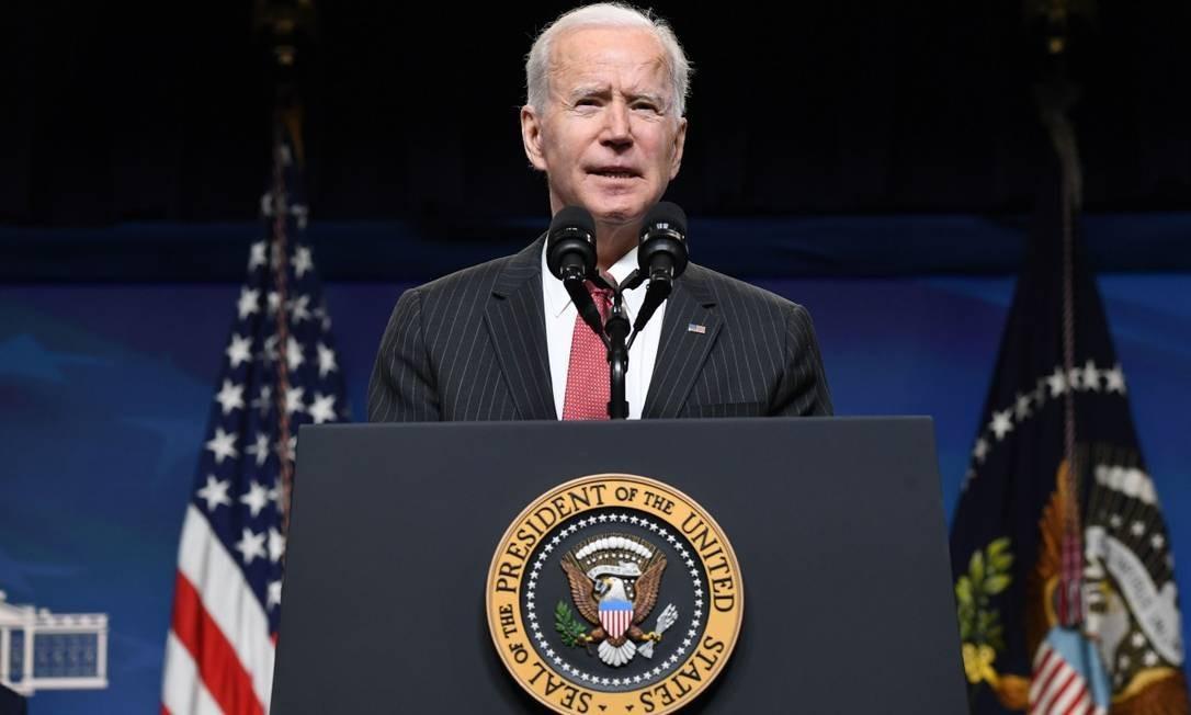 Presidente dos EUA, Joe Biden, fala sobre a situação em Mianmar no em Washington. Foto: SAUL LOEB / AFP