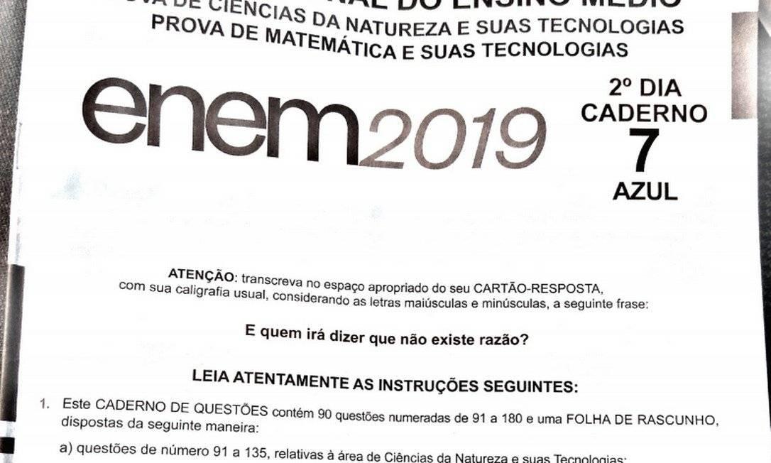 Prova do ENEM 2019 Foto: Reprodução