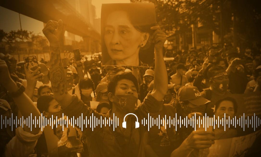 Apoiadores da líder Suu Kyi entraram em confronto com os militares em Myanmar Foto: Arte