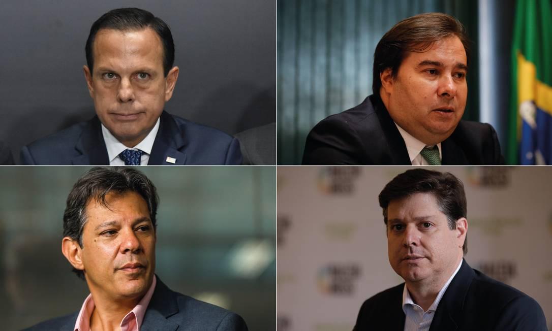 João Doria, Rodrigo Maia, Fernando Haddad e Baleia Rossi Foto: Editoria de Arte