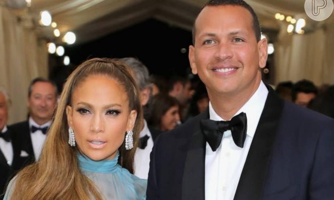 Jennifer Lopez e o marido, Alex Rodriguez Foto: Getty Images