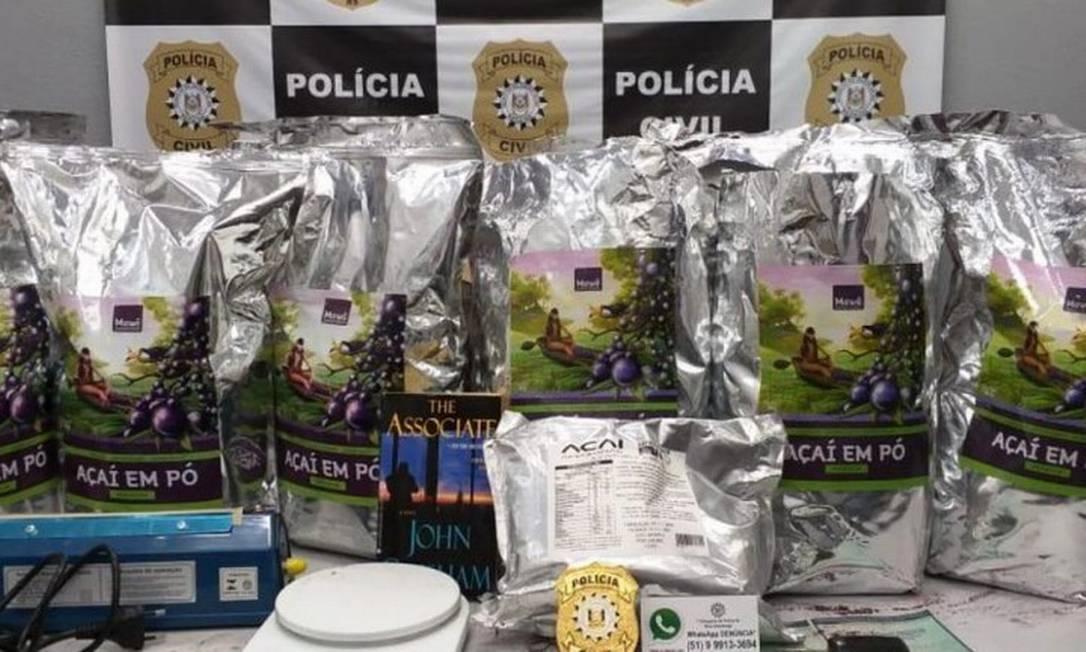Apreensão de cocaína negra embalada em pacotes de açaí em pó Foto: Divulgação