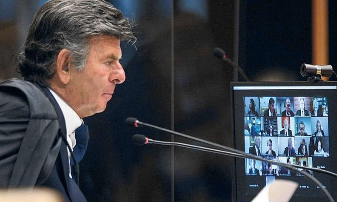 Ministro Luiz Fux, do STF, preside sessão plenária por videoconferência Foto: Nelson Jr./SCO/STF/10-02-2021