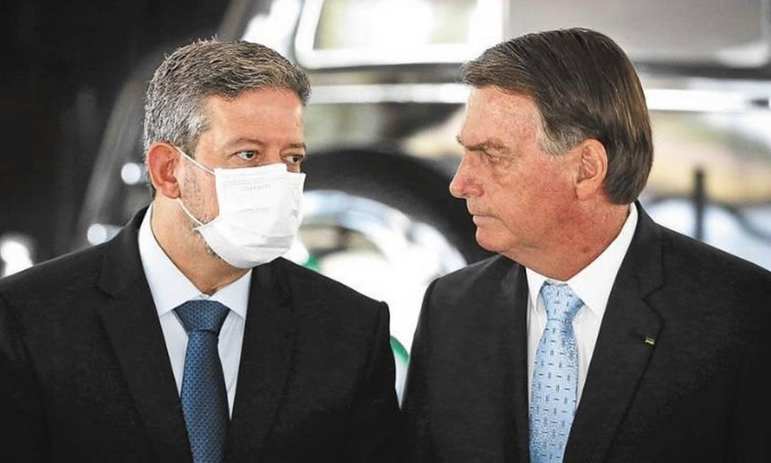 Presidente Jair Bolsonaro com Arthur Lira, novo Presidente da Câmara Foto: Pablo Jacob / Agencia O GLobo