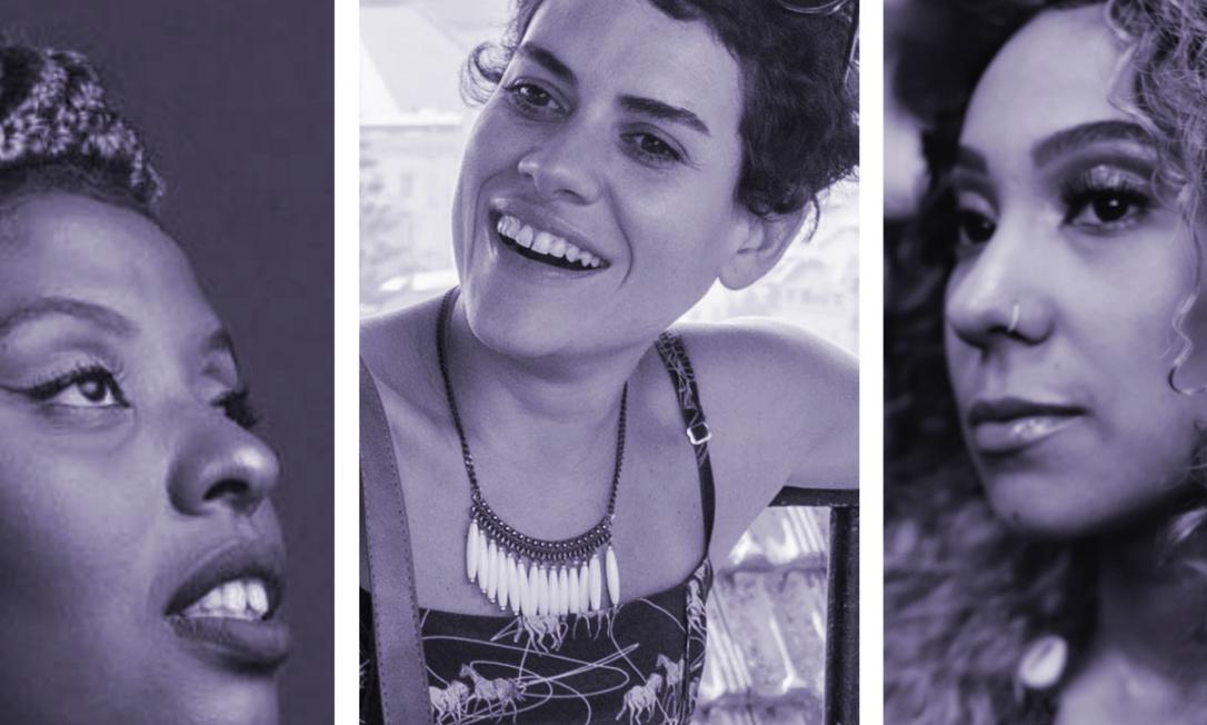 """Luz Ribeiro (à esquerda), Adelaide Ivánova e Mel Duarte, três das autoras selecionadas para a antologia """"As 29 poetas hoje"""" Foto: Divulgação"""