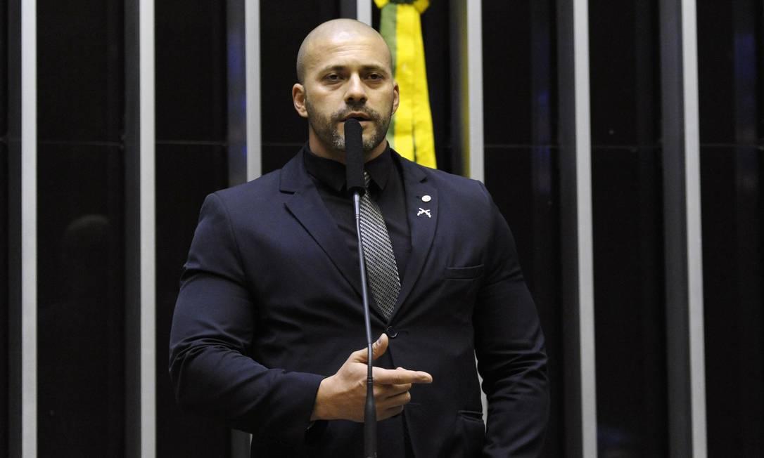 O deputado Daniel Silveira (PSL-RJ) em sessão na Câmara Foto: Luis Macedo / Câmara dos Deputados/20-03-2019