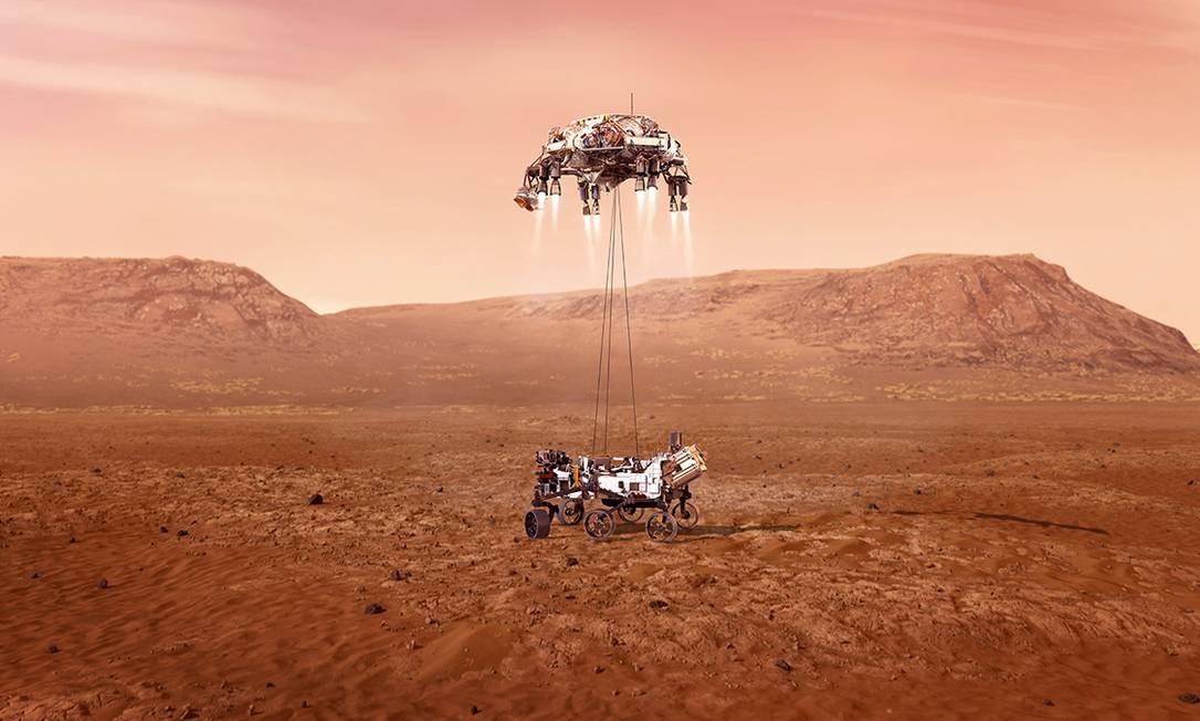 Ilustração do pouso do robô Perseverance na superfície de Marte Foto: NASA/JPL-Caltech