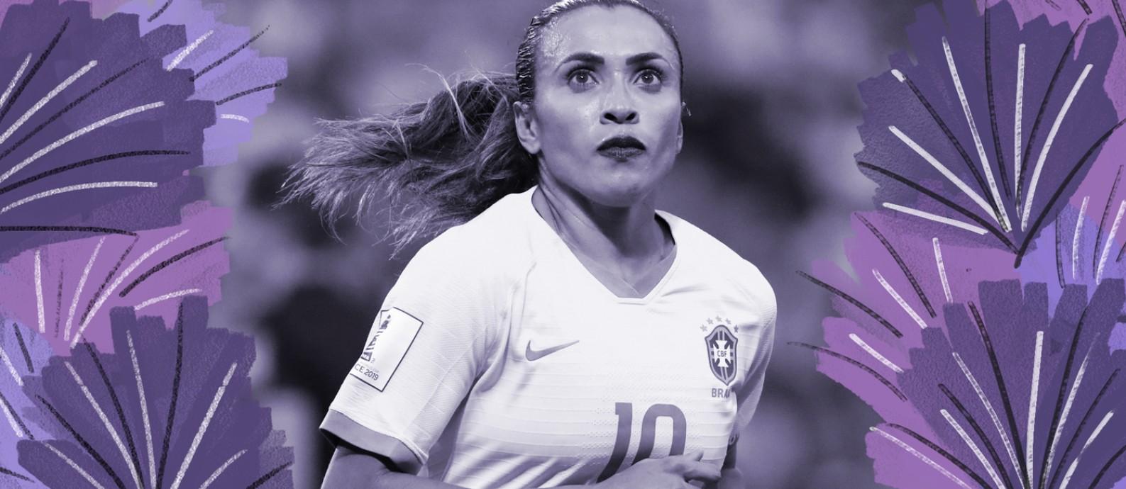 Marta foi a primeira mulher a ter seus pés marcados no Hall da Fama do estádio Maracanã em 2018. Foto: Reuters