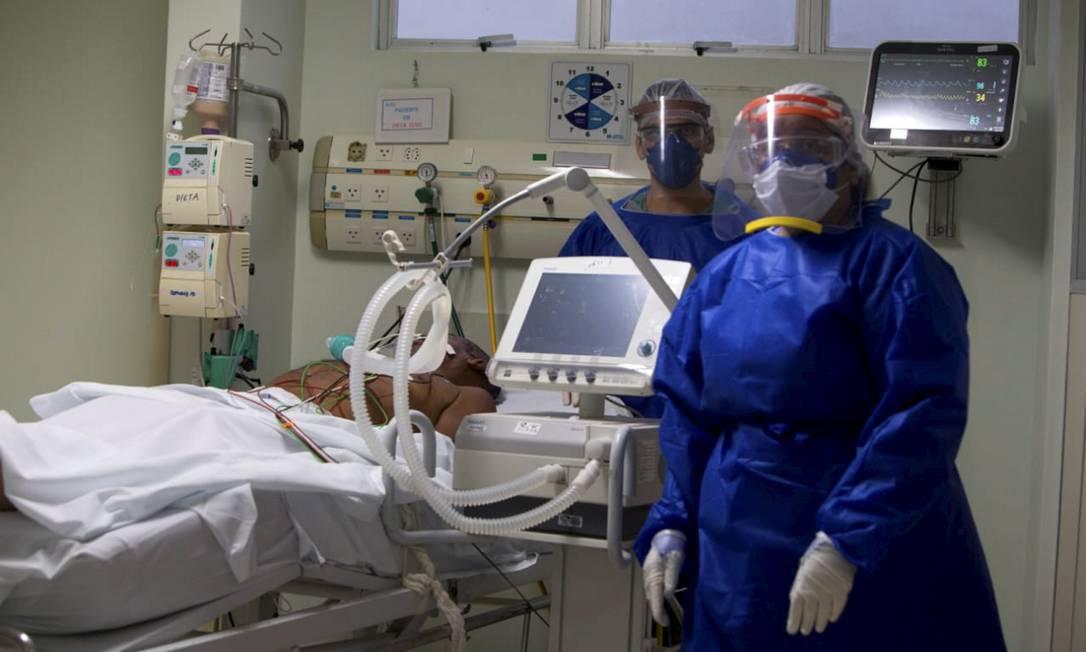 Hospital Espanhol atende a pacientes com Covid-19, em Salvador, em fevereiro de 2021. Foto: Paula Fróes /GOVBA