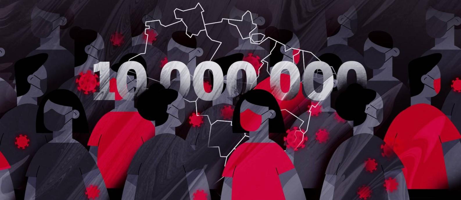 Brasil ultrapassa 10 milhões de casos de Covid-19 Foto: Editoria de Arte