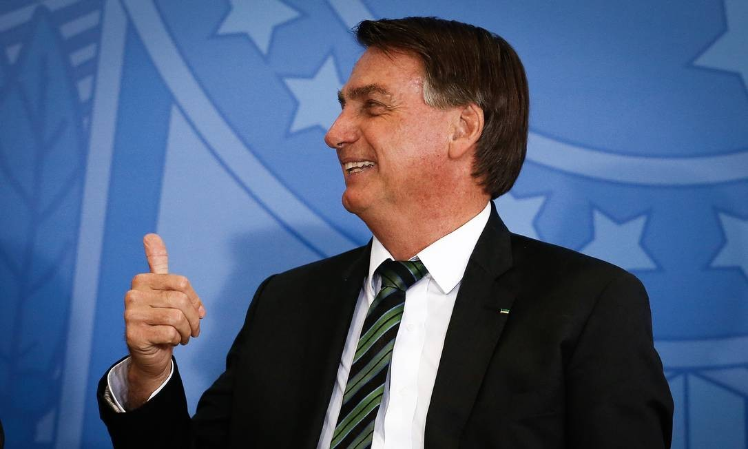O presidente Jair Bolsonaro participa de evento no Palácio do Planalto Foto: Pablo Jacob/Agência O Globo/09-02-2021