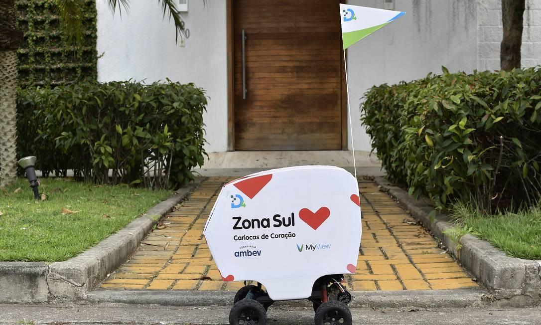 Drone terrestre. As entregas são feitas a até 1,5 km de distância da loja Foto: Divulgação/Myview