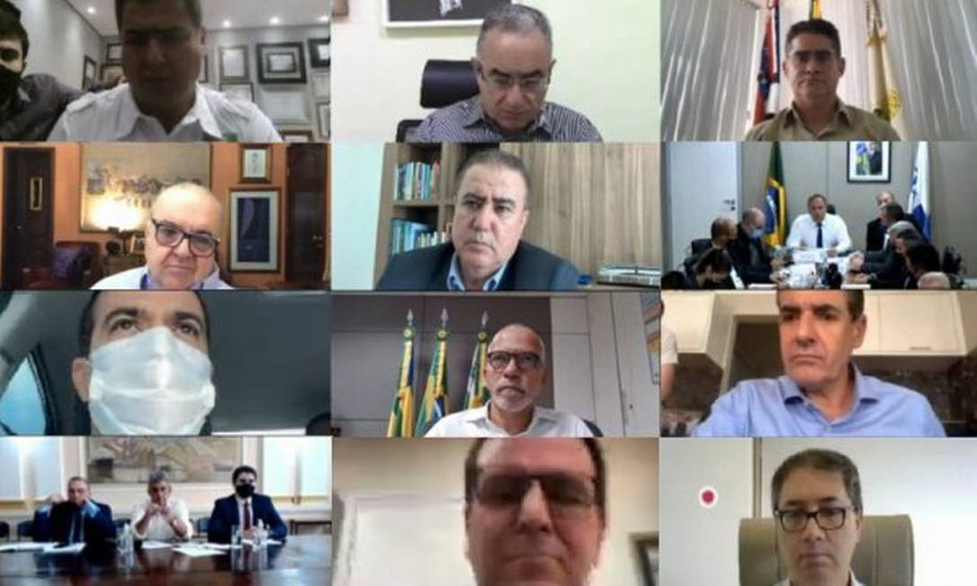 Reunião da Frente Nacional dos Prefeitos com o ministro da Saúde, Eduardo Pazuello, ocorreu de forma virtual Foto: Divulgação