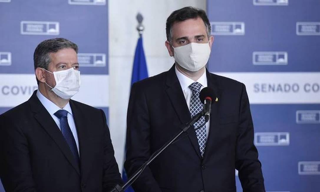 Os presidentes da Câmara, Arthur Lira, e do Senado, Rodrigo Pacheco Foto: Marcos Brandão/Senado Federal
