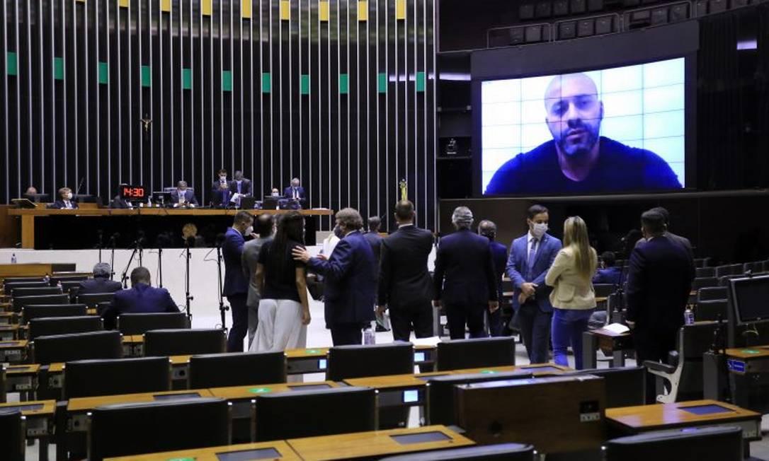 Votação na Câmara sobre a prisão de Daniel Silveira (PSL-RJ) Foto: Michel Jesus / Câmara