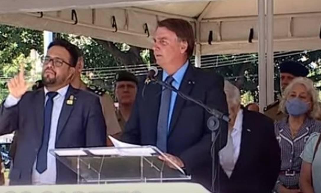 O presidente Jair Bolsonaro cerimônia de entrada de novos alunos da escola preparatória de cadetes do Exército, em Campinas (SP) Foto: Reprodução