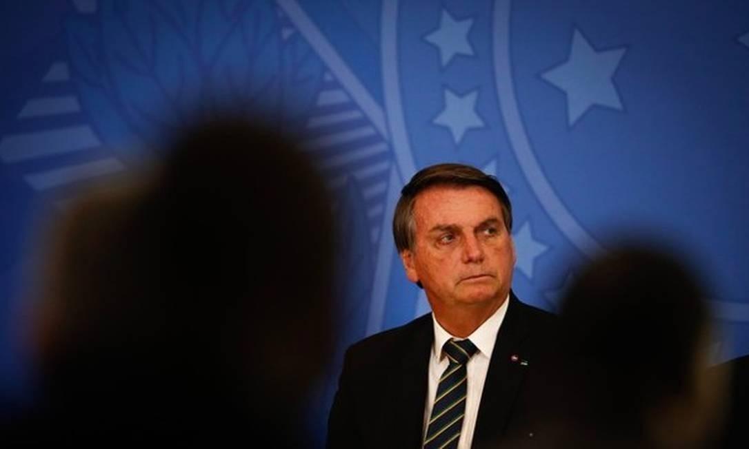 O presidente Jair Bolsonaro em cerimônia no Planalto Foto: Pablo Jacob