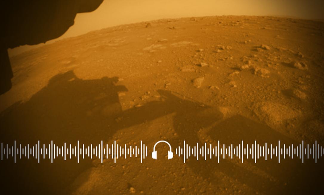 Primeira imagem colorida e em alta resolução produzida em Marte pelo rover Peseverance, da NASA Foto: Arte