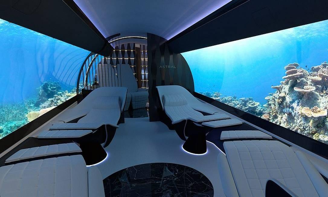 Projeto da empresa de design suíça Yasava mostra o interior de uma cabine de jato particular com telões que transmitem qualquer tipo de imagem, até do fundo do mar Foto: Yasava / Reprodução