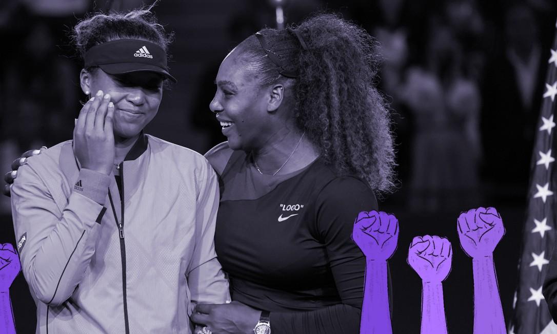 Naomi Osaka e Serena Williams depois da final do US Open, em agosto de 2018. Dois anos depois, Osaka encontrou sua voz e o auto controle para falar sobre si e suas as questões da sociedade que a mobilizam Foto: Chang W. Lee / The New York Times