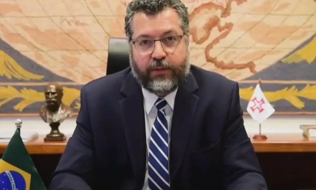 Ministro das Relações Exteriores, Ernesto Araújo, em discurso no Conselho de Direitos Humanos da ONU Foto: Reprodução/Nações Unidas