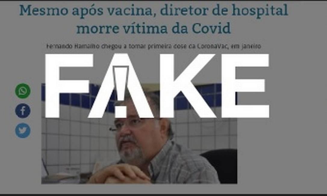 É #FAKE que morte de médico após primeira dose da vacina revele ineficácia da Coronavac Foto: Reprodução