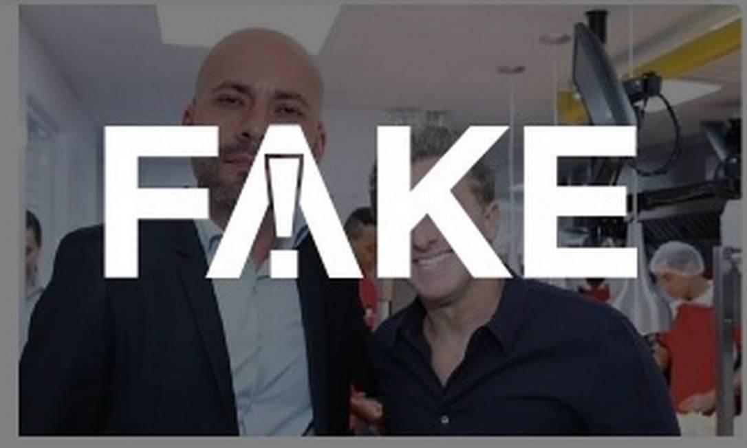 É #FAKE imagem que mostra Luciano Huck com o deputado Daniel Silveira Foto: Reprodução