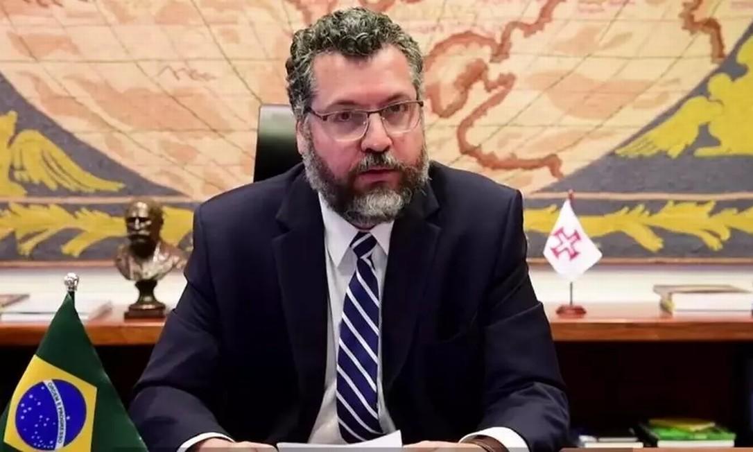 O ministro brasileiro das Relações Exteriores, Ernesto Araújo, durante seu discurso por meio de videoconferência Foto: Reprodução