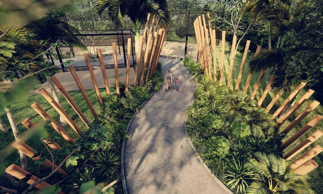Uchôa optou por utilizar materiais naturais. Em toda a configuração do parque, foi usada madeira de eucalipto (material certificado). As paredes receberam um revestimento com pintura artística de envelhecimento Foto: Divulgação/ CICLO Arquitetura